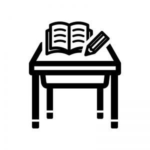 学校机とペンとノートの白黒シルエットイラスト シルエット イラスト