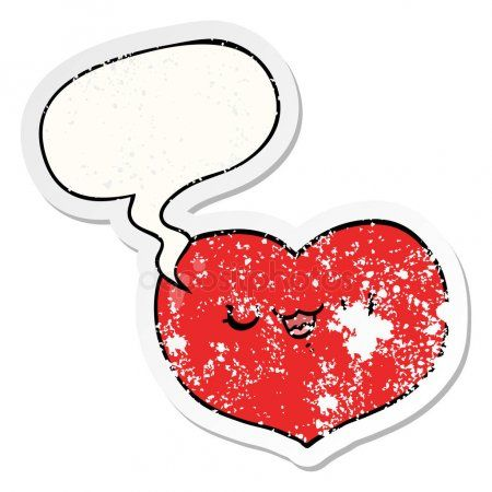 Cartoon Love Heart And Speech Bubble Distressed Sticker Stock