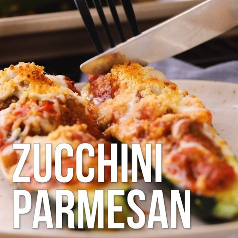 Nothing goes to waste in this twist on eggplant Parmesan, as the scooped-out zucchini flesh gets mixed into the meat sauce. Use long, straight zucchini for this dish, which are easier to hollow out for stuffing. #summer #summerrecipes #healthysummerrecipes #summerproduce #summerproducerecipes #recipe #eatingwell #healthy