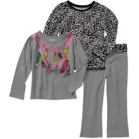 d9f00725c7 ... promo code d889b fa7cd Garanimals Baby Girls 3 Piece Graphic Tees and  Yoga Pant Set Baby ...