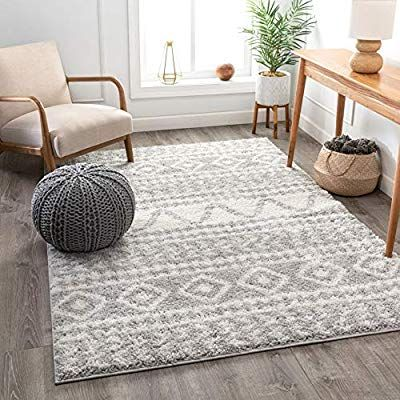 Well Woven Tribal Diamond Stripes Grey Soft Shag Area Rug 5x7 5