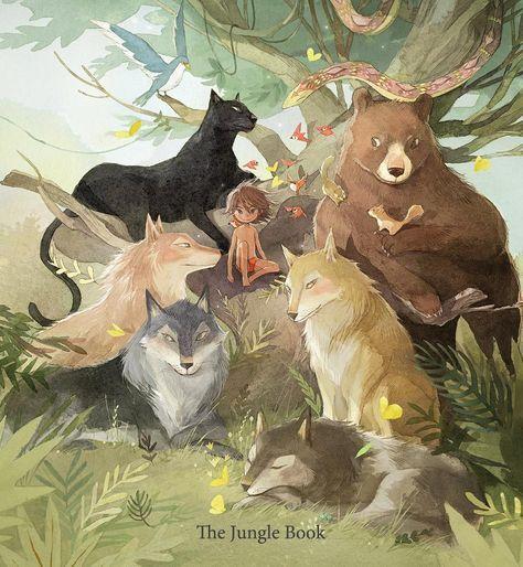 The Jungle Book Kimminji Illustration Junglebook Jungle Illustration Disney Fan Art Animal Illustration Kids