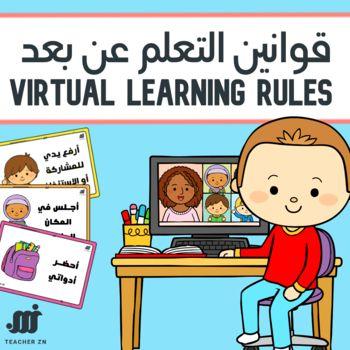 قوانين التعلم عن بعد مناسبة لتعليم البنات والأولاديحتوي الملف على 6 قوانين مختلفة بطاقات مفرغة لكتابة الق Safety Rules For Kids Kids Study Classroom Background