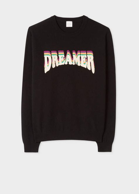 050413fd7 Paul Smith Men s Black Lambswool Sweater With  Dreamer  Embroidery ...