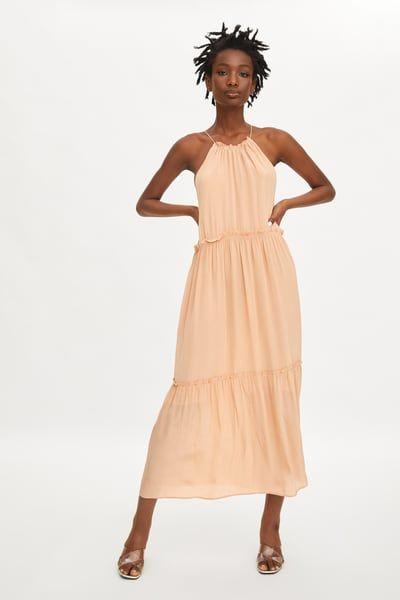 Zara Female Long Ruffled Dress Champagne Xxl Long Dress Women S Fashion Dresses