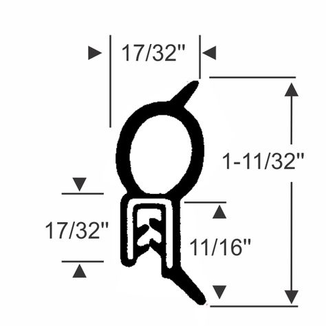 "Trim-Lok Trim Seal with Top Bulb 3//8/"" Bulb Seal Diameter Fits 5//32/"" Edge 25/' Length PVC Plastic Trim with EPDM Rubber Bulb Seal"