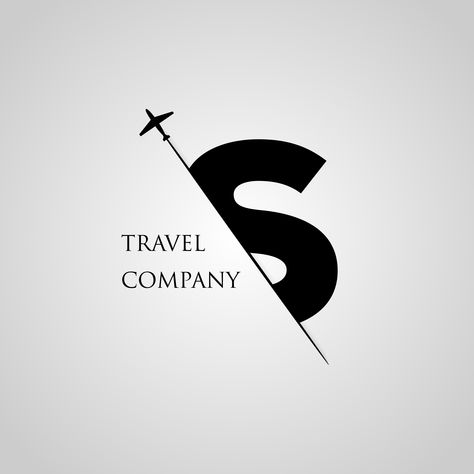 Capital S letter is inserted in the paper slot with the plane slice letter S for travel logo. By linimasa
