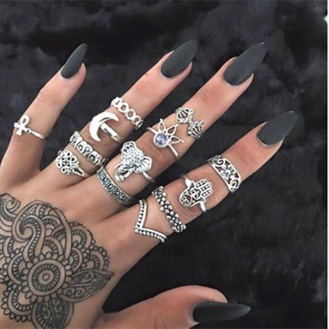 Set 13pcs Boho Elephant Fatima Finger Knuckle Ring Band Midi Rings Stacking Ring   Jewelry & Watches, Fashion Jewelry, Rings   eBay!