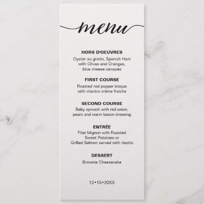 Simple Wedding Menu Elegant Script Zazzle Com Simple Wedding Menu Wedding Menu Wedding Catering