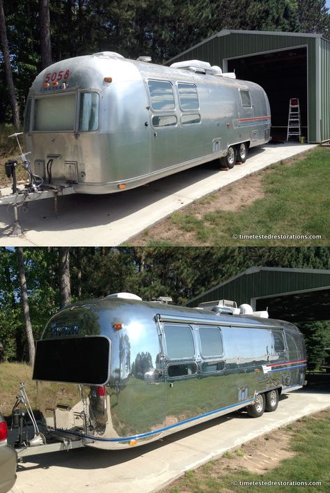 1978 Airstream Sovereign. Before and after - polishing by Time Tested Restorations. © TimeTestedRestorations.com