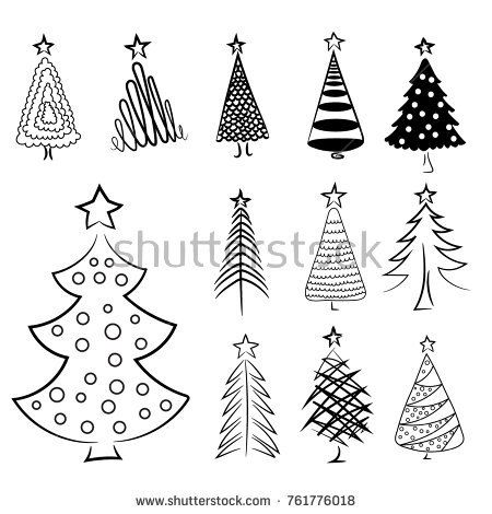 Hand Drawn Christmas Trees Set Christmas Collection Of Decorative Trees Doodles And Sketches Vector Il Christmas Tree Design Tree Designs Christmas Tree Set