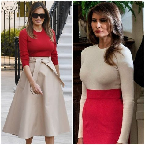 Contrasting red and beige worn by #Melania Trump. ❤ (L to R: July 10, 2018 and October 6, 2017.)