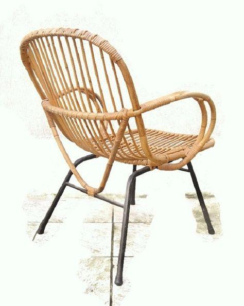 Rare Large Rattan Basket Armchair Legs Metals Bamboo Vintage 1950