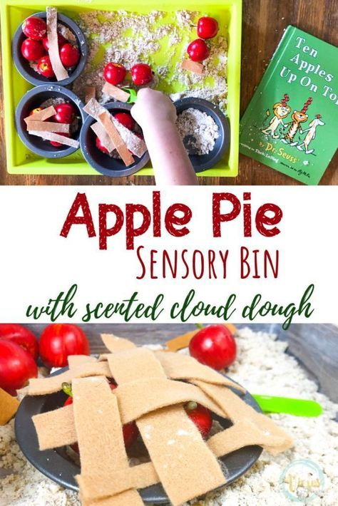 This apple pie sensory bin includes scented cloud dough to create fine motor and pretend play for kids. To play with the book Ten Apples Up On Top. This apple pie sensory bin uses scented cloud dough for kids to make pretend pies. This is excellent for Apple Activities, Autumn Activities For Kids, Fall Preschool, Sensory Activities, Infant Activities, Sensory Play, September Activities, Preschool Apples, Sensory Diet