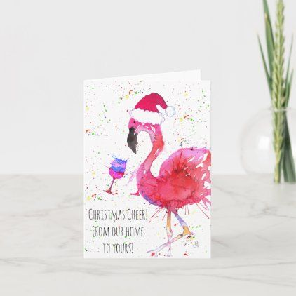 Christmas Cheer Pink Flamingo Greeting Card Zazzle Com Greeting Cards Pink Flamingos Custom Greeting Cards