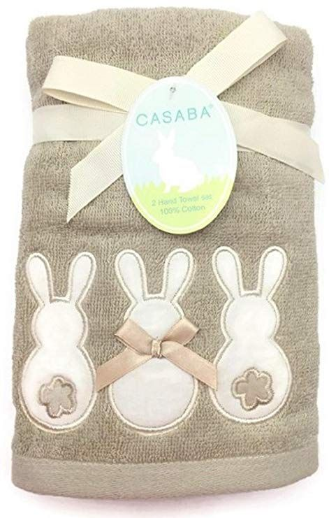 Amazon Com Casaba Embroidered Easter Cottontail Bunnies Beige