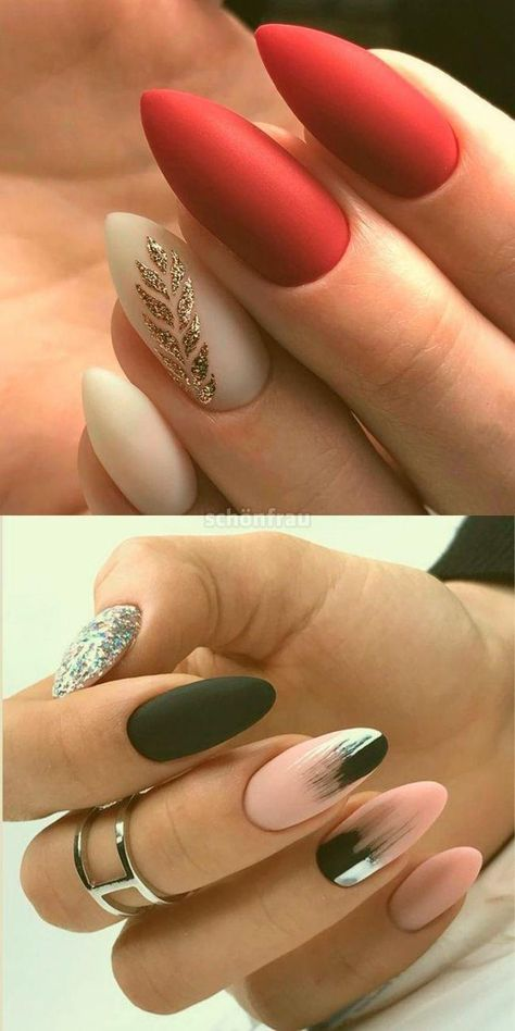 mandelförmige Maniküre – Nägel | Nails, Matte nails, Gel nails    mandelfö... #gelnailideas #nailideaswinter #shortgelnails #longgelnails