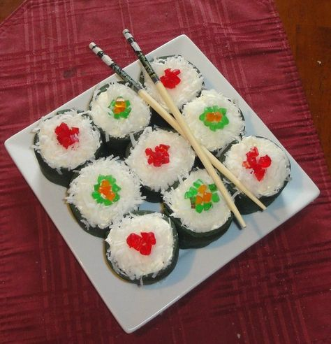 Sushi cupcakes!  Use white sprinkles or coconut for rice, and add gummy candies for the fish.