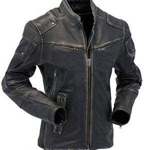Mens Vintage Biker Black Leather Jacket In Usa Uk Canada Germany France New York Los Angeles Chicago Houston Philadelphia Phoenix San Antonio San Di Distressed Leather Jacket Leather Jacket Men Cafe