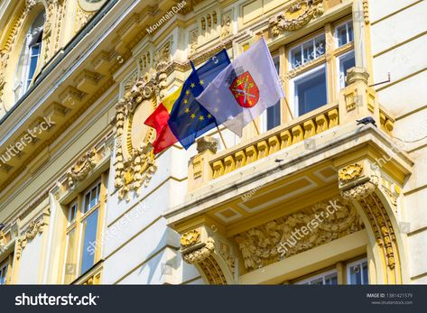 European Flag Romanian Flag And Sibiu Flag On The City Hall Building In The Main Square The 2019 Informal Meeting Of Head In 2020 With Images European Flags Romanian Flag Sibiu