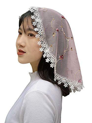 Lace Church Veil Headcovering For Women Pink Fanfan Https Www Amazon Com Dp B081rnfb63 Ref Cm Sw R Pi Dp U X Zqshebd6r53jb In 2020 Church Veil Women Head Covering