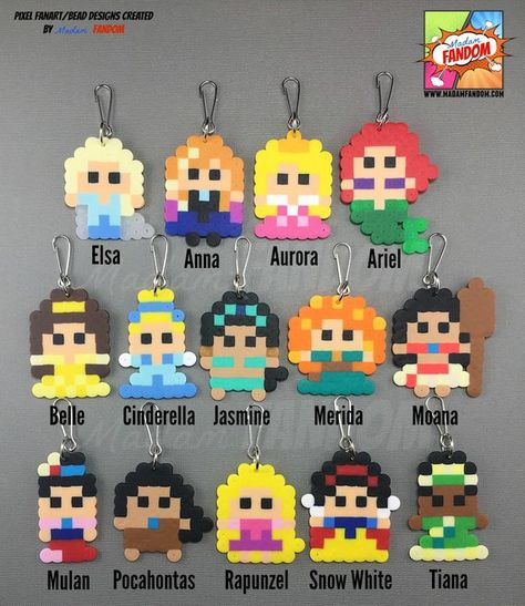 12 pcs Princess Party Favors Zipper Pulls Magnets or Pins Perler Bead Designs, Easy Perler Bead Patterns, Melty Bead Patterns, Perler Bead Templates, Hama Beads Design, Diy Perler Beads, Perler Bead Art, Pearler Beads, Princess Party Favors