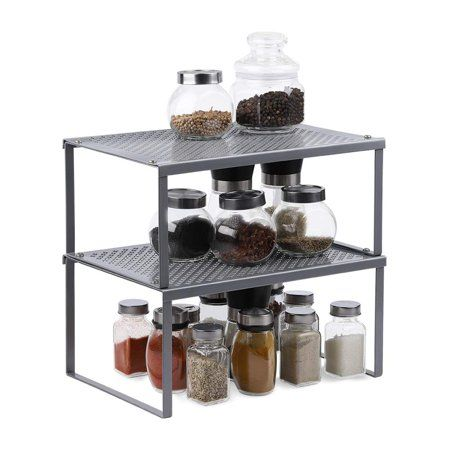 Kitchen Cabinet And Counter Shelf Organizer Expandable Stack Able Silver 2 Pack Walmart Com In 2021 Shelf Organization Kitchen Counter Storage Kitchen Counter Organization
