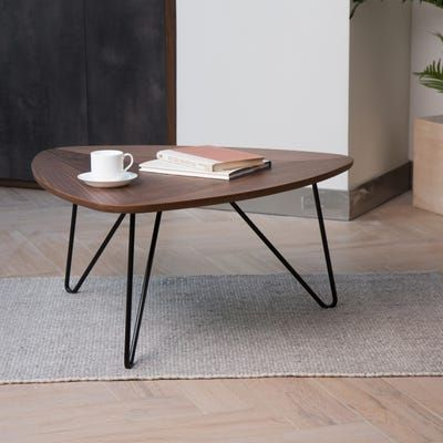 Modern And Smart Coffee Table Equilateral Triangle Table Top With American Walnut Grain Hairpin Legs W Coffee Table Walnut Coffee Table Triangle Coffee Table