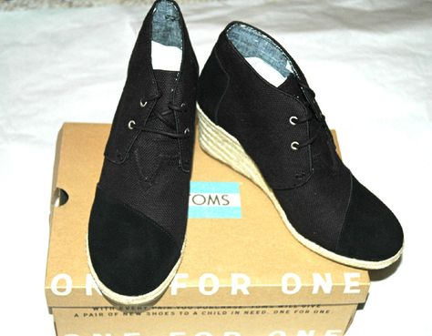 TOMS Women's Desert Wedge Black Burlap Suede Size 9.5 #TOMS #Wedge #Casual
