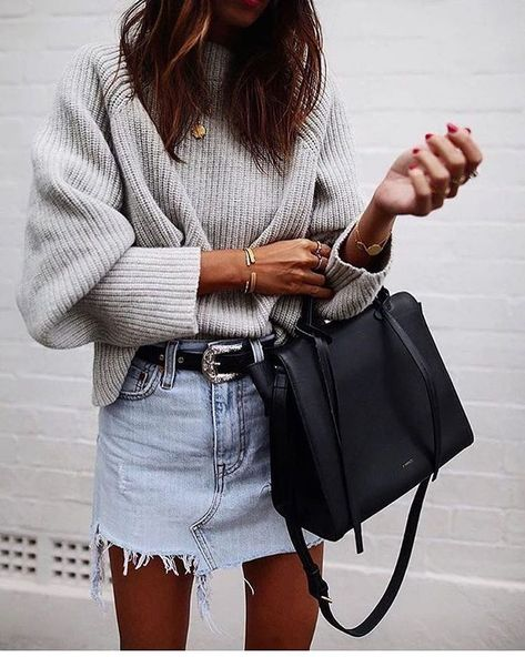 gray sweater, denim skirt, black bag