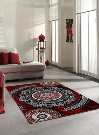 magnifique tapis salon rouge et gris | Décoration française ...