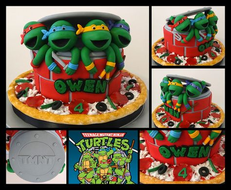 teenage mutant ninja turtles - here is my version of this popular ninja turtle cake design. thanks to Toni at White Crafty Cakes for her detailed instructions and Diane (BellaCakes2012) for her awesome video tutorial on the turtle heads.