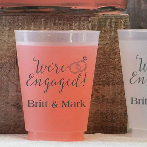 16 ounce frosted plastic cups printed with Dark Grey imprint color, Strong lettering style, and design ENG04