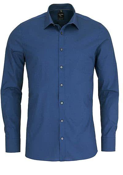 Olymp No Six Super Slim Hemd Langarm New Kent Kragen Rauchblau Hemd Olymp Herren Hemden