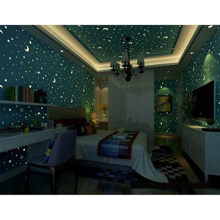Stars And Moons Fluorescent Wallpaper For Kids Bedroom 20 7 Inch X 32 8 Blue Amazing Kid Room Decor Minimalist Kids Room Bedroom Decor