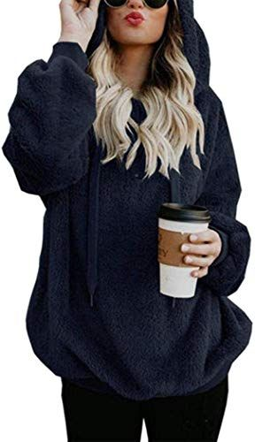 Women Casual Plush Solid Hooded Long Sleeve Loose Sweatshirt Top