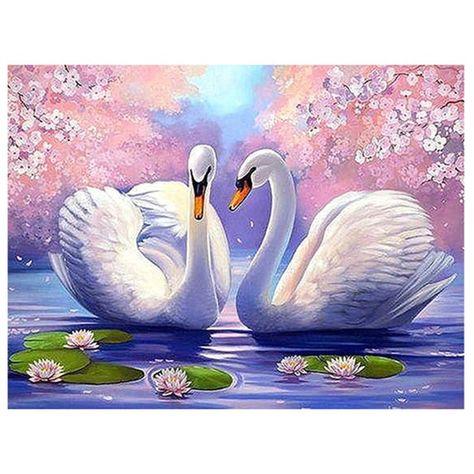 Diamond Painting Swan Scenery Round 5D Diamond embroidery Cross stitch Diamond Wall Painting Holiday