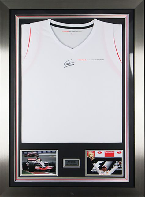 45b95d81e57d1 This authentic hand signed Lewis Hamilton 2008 McLaren F1 race shirt  display Great images of Lewis in action set into this display Framed in a  silver frame ...