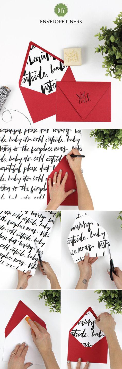 simple diy wedding invitation envelope liners