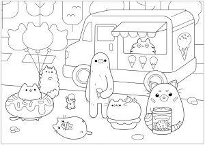 Ice Cream Shop Pusheen Doodle Art Doodling Coloring Pages For Adults Just Color Gekritzel Malvorlagen Kostenlose Ausmalbilder