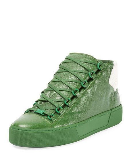 BALENCIAGA Men'S Arena Leather Mid Top Sneaker, GreenWhite