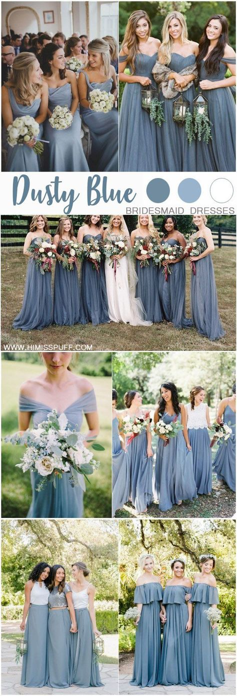 dusty blue color bridesmaid dresses #weddings #wedding #blueweddings #weddingcolors #weddingideas #dustyblue #beautiful