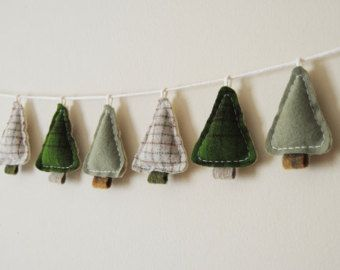 Winter Tree Garland - Primitive Woodland Home Decor - Camping Bunting - Cabin Decor. reversible -- one side is white for winter trees. All Things Christmas, Christmas Holidays, Christmas Decorations, Christmas Ornaments, Winter Trees, Merry And Bright, Christmas Inspiration, Felt Crafts, Tree Crafts
