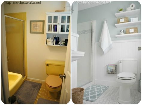 a 1965 bathroom gets a much needed overhaul powder room yellow rh pinterest com