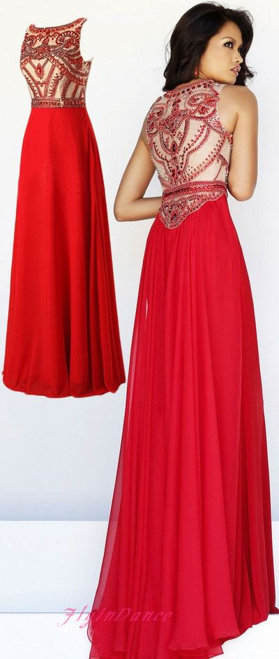 0201bff6b40 Red Prom Dress Simple A Line With Red Beaded Chiffon Long Prom Dresses  Modest Evening Gowns For Teens