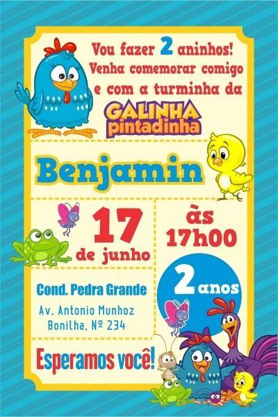 Arte Digital Convite Galinha Pintadinha Convite Galinha