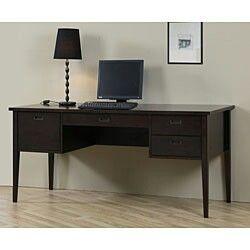 brown cherry marble computer pc desk home office study table printer rh pinterest com