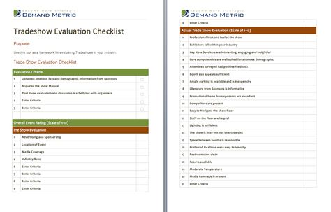 Tradeshow Evaluation Checklist - A checklist to evaluate - vendor evaluation