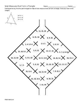 Triangle Inequality Theorem Maze Triangle Inequality Theorems Inequality