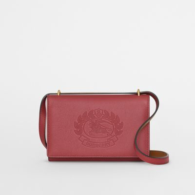 53304726e06b Embossed Crest Leather Wallet with Detachable Strap in Crimson ...
